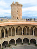 Bellver Castle. Castell de Bellver was built on 14th century on a hilltop near Palma de Mallorca, Spain. Its circular groundplan is a unique example of Gothic Stock Photos
