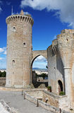 Bellver castle , Palma , Mallorca. Gothic style Bellver castle, one of the few circular castles in Europe offers nice view over the city of Palma ( Mallorca Royalty Free Stock Photography