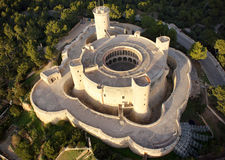 Bellver castle aerial. The bellver castle, a gothic round plant construction of 14th century located in the spanish island of Majorca aerial view Royalty Free Stock Photography