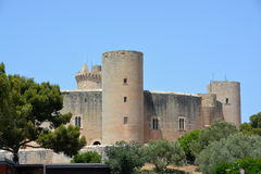 Bellver Castle, (Castell de Bellver) Majorca, Spain. Bellver castles circular layout is unique in Spain. Originally built for the Kings of Majorca Stock Photography
