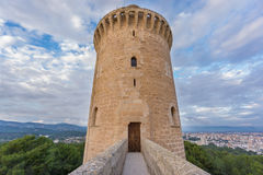 Bellver Castle in Majorca with merlon, wide angle Royalty Free Stock Photo