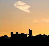Bellver castle shape during sunset royalty free stock images