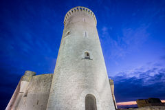 Bellver Castle tower at sunset in Majorca, wide angle Royalty Free Stock Images