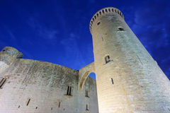 Bellver Castle tower at sunset in Majorca, wide angle Royalty Free Stock Photos