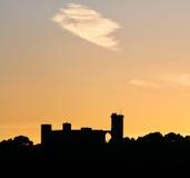 Bellver-Schlossform während des Sonnenuntergangs lizenzfreie stockbilder
