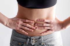 Belly. Body parts: woman with stomach pain Stock Image