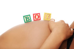 Belly in an advanced pregnancy - boy. Stock Image