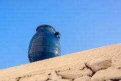 Belly amphora painted blue Stock Image