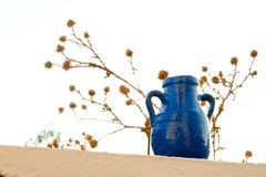 Belly amphora painted blue Stock Images