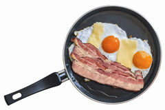Fried Eggs With Belly Bacon Rasher In Teflon Frying Pan Isolated On White Background Royalty Free Stock Photography