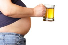 Belly and beer Stock Photography