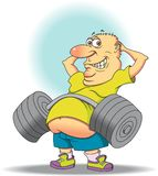 Belly Buster. This is a middle aged man showing us another way to exercise his abs Royalty Free Stock Photo