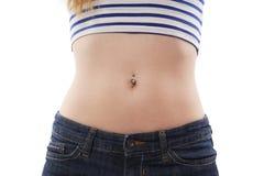 Belly button piercing Royalty Free Stock Photos