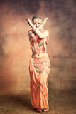 Belly dance. Exotic belly dancer woman, small amount of grain added Royalty Free Stock Photos