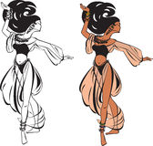 Belly dance. (black and white and color pictures royalty free illustration