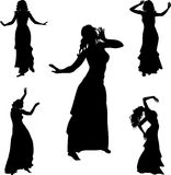 Belly dance dancer. Five silhouettes of belly dance dancer Royalty Free Stock Image