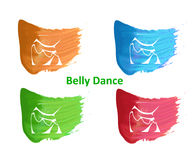 Belly dance logo. Illustration in style of flat design dedicated to the belly dance Stock Photo