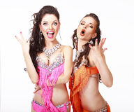 Belly Dance. Two Women in Oriental Stage Costumes Singing Stock Image