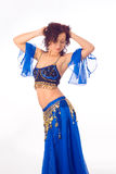 Belly dancer. Beautiful arabic belly dancer in blue Stock Image