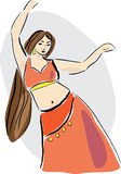 Belly dancer. With long hair in pose Royalty Free Stock Photography