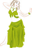 Belly dancer. Theme illustration. Dancing woman Royalty Free Stock Image