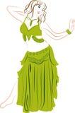 Belly dancer. Theme illustration. Dancing woman stock illustration
