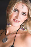 Belly Dancer. Beautiful Blond Belly Dancer with traditional jewelery royalty free stock photos