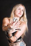 Belly Dancer. Hands holding Tribal Zagat or finger symbols royalty free stock photo