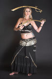 Belly Dancer. Hands holding Tribal Zagat or finger symbols royalty free stock photos