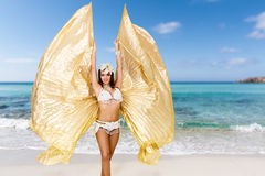 Belly dancer on the beach Royalty Free Stock Photo