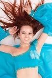 Belly Dancer in a blue Stock Photos