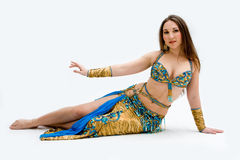 Belly dancer in blue Royalty Free Stock Images