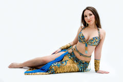 Belly dancer in blue Royalty Free Stock Photo