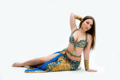 Belly dancer in blue Stock Images