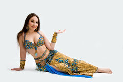Belly dancer in blue Royalty Free Stock Photos