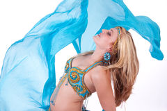 Belly dancer with blue veil Stock Photography