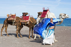 Belly Dancer and Camel Royalty Free Stock Image