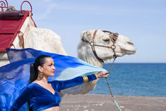 Belly Dancer and Camel. Belly Dancer with a Camel on a Beach Royalty Free Stock Photo