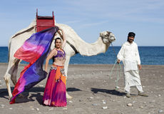 Belly Dancer and Camel. Belly Dancer with a Camel on a Beach Stock Photography