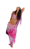 Belly dancer in carnival costume on white. Beautiful slim woman belly dancer in carnival shining costume isolated on white background Stock Image