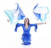 Belly dancer with colorful Fan Veils Stock Photos