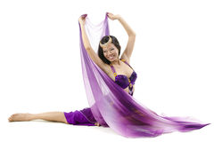 Belly dancer dancing on floor Royalty Free Stock Image