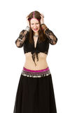 Belly dancer desperation. Person emotions and expressions portrait Stock Photo