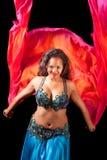 Belly dancer with fiery veil Stock Photos