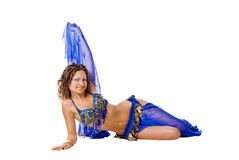 Belly dancer on the floor Royalty Free Stock Photography