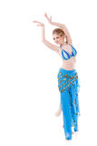 Belly dancer girl in blue Royalty Free Stock Photography