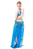 Belly dancer girl in blue isolated on white Royalty Free Stock Photography