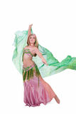 Belly dancer with green veil Stock Image