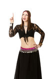 Belly dancer indicated. Person emotions and expressions portrait royalty free stock images