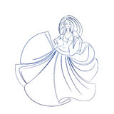 Belly dancer ink sketch gesture drawing. Line ink style sketch figure gesture drawing of belly dancer Royalty Free Stock Photo